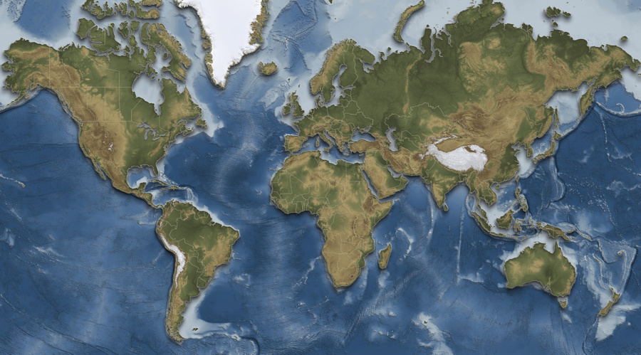 World shaded relief map usgsquads.com